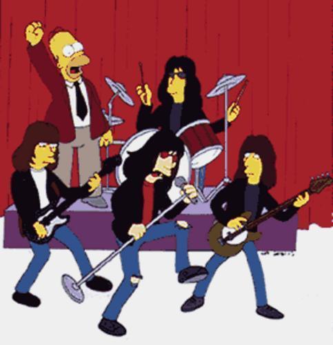 Um quinteto improvável: Joey, Johnny, CJ, Marky e... Homer Simpson! crédito: http://simpsons.skewsme.com/img/ramones_simpsons_1.jpg
